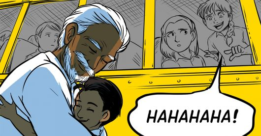 Girl on school bus laughing at Indian boy's grandfather